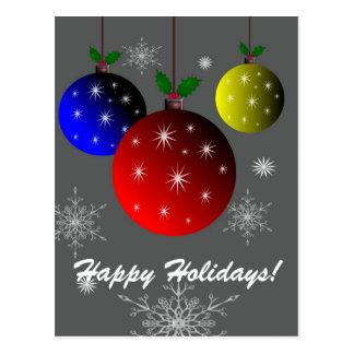 Carte Postale Bonnes fêtes, flocons de neige et conception