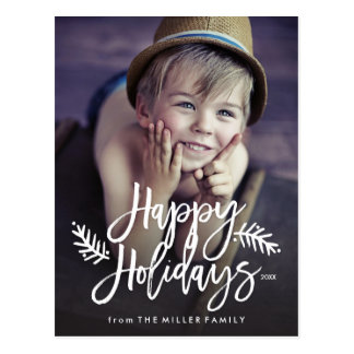 Carte Postale Bonnes fêtes main chic de pleine photo marquée