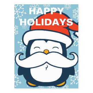 Carte Postale Bonnes fêtes tendance de moustache de pingouin