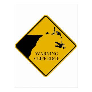 Carte Postale Bord d'avertissement de falaise