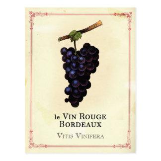 Carte Postale Bordeaux de raisins de vin rouge