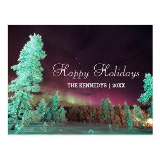 Carte Postale Borealis de l'aurore - arbres de vert de chaux en