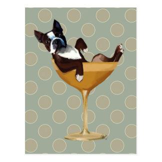 Carte Postale Boston Terrier en verre de cocktail