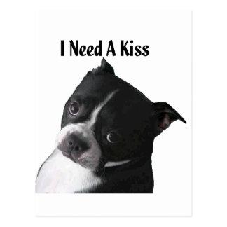 Carte Postale Boston Terrier :  J'ai besoin d'un baiser