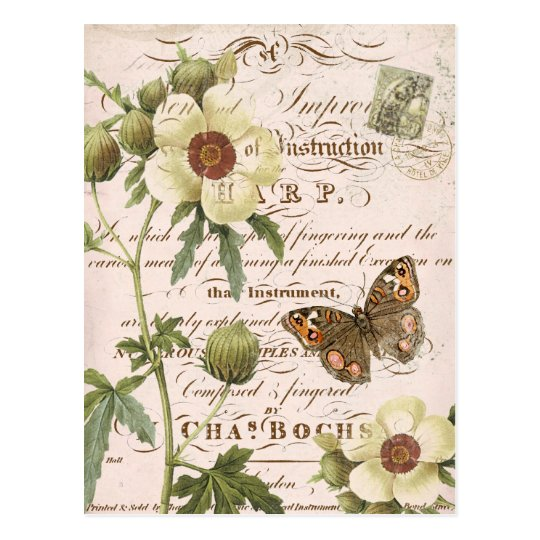 carte postale botanique florale vintage. Black Bedroom Furniture Sets. Home Design Ideas