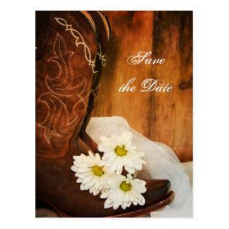 Carte Postale Bottes de cowboy de marguerites blanches épousant