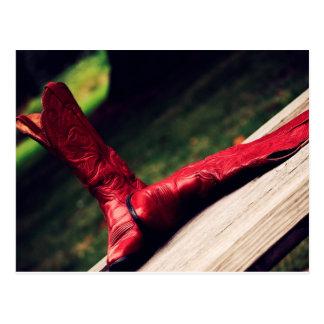Carte Postale Bottes de cowboy rouges