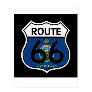 Carte Postale Bouclier de l'itinéraire 66 de drapeau du Kansas