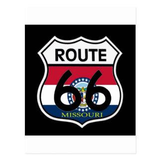Carte Postale Bouclier de l'itinéraire 66 de drapeau du Missouri