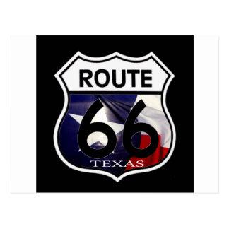 Carte Postale Bouclier de l'itinéraire 66 de drapeau du Texas