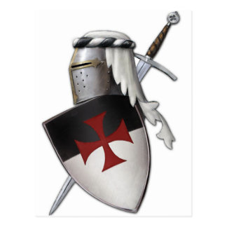 Carte Postale Bouclier de Templar de chevaliers