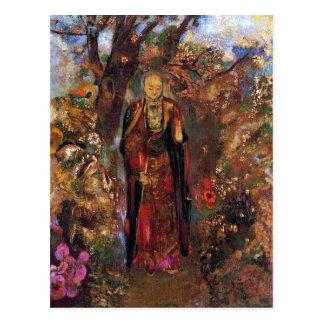 Carte postale :  Bouddha marchant parmi les fleurs