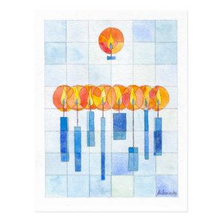 Carte Postale Bougies accrochantes de Hanoukka