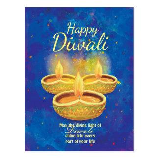 Carte Postale Bougies illuminating heureuses de Diwali saluant