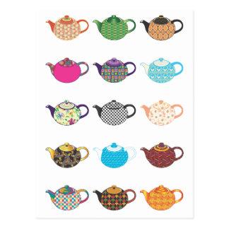 Carte Postale Bouilloires de thé multicolores