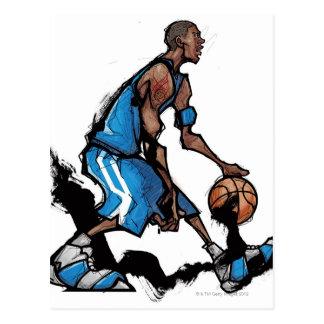Carte Postale Boule de ruissellement de joueur de basket