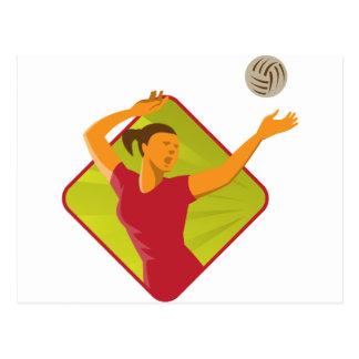 Carte Postale Boule de transitoire de joueur de volleyball rétro