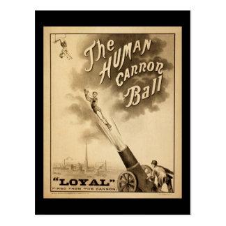 Carte Postale Boule humaine de Canon d'affiche vintage de cirque