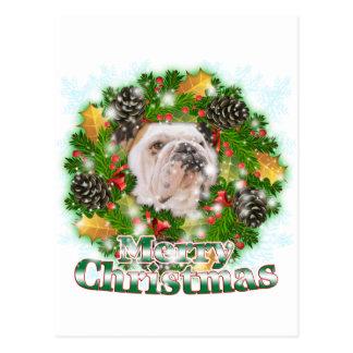 Carte Postale Bouledogue de Joyeux Noël