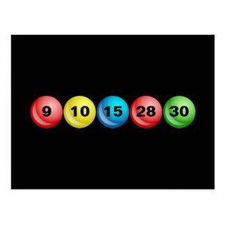 Carte Postale Boules de loterie, 9, 10, 15, 28, 30