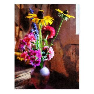 Carte Postale Bouquet avec Susans Noir-Eyed et Phlox