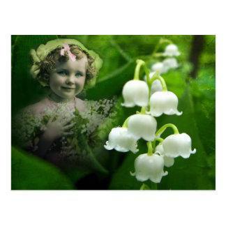 Carte Postale Bouquet blanc doux de fleur de Bell du muguet