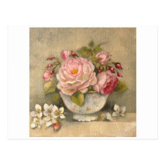 Carte Postale Bouquet de fleurs, roses, seringat © Atelier Flont