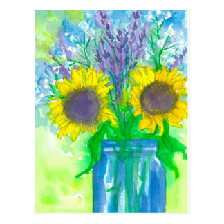 Carte Postale Bouquet de tournesols d'aquarelle