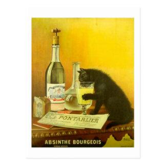Carte Postale Bourgeois d'absinthe et poster vintage fin de chat