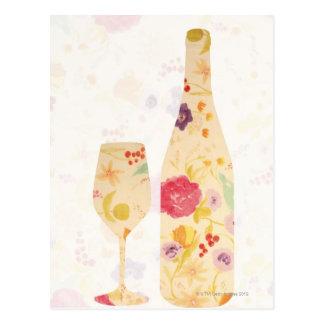 Carte Postale Bouteille et verre de vin