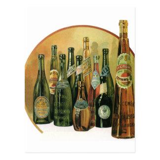 Carte Postale Bouteilles à bière importées par cru, alcool,
