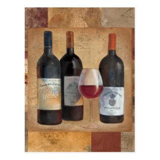 Carte Postale Bouteilles de vin avec le verre