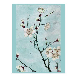 Carte Postale Branches de prune avec les fleurs Ukiyo-e.