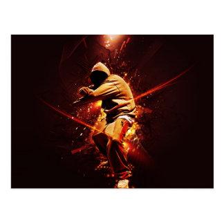 Carte Postale breakdancer de hip-hop sur le feu