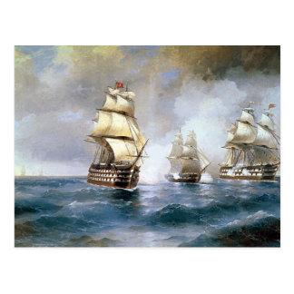 Carte Postale Brig Mercury attaqué par deux bateaux turcs
