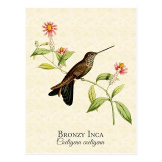 Carte postale Bronzy d'art de colibri d'Inca