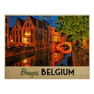 Carte Postale Bruges Belgique la nuit