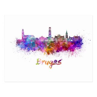 Carte Postale Bruges skyline in watercolor