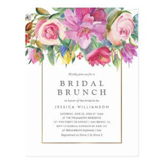 Carte Postale Brunch nuptiale floral d'aquarelle chic