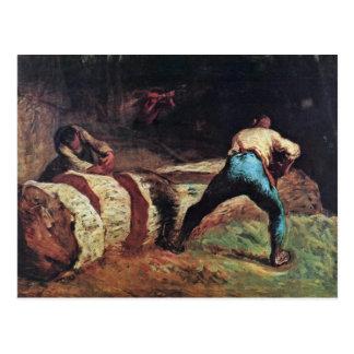 Carte Postale Bûcherons sciant le bois par le millet (la