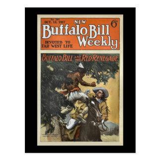 Carte Postale Buffalo Bill 1917 hebdomadaire - le renégat rouge