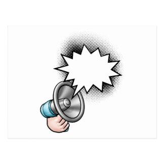 Carte Postale Bulle de la parole de bande dessinée de mégaphone