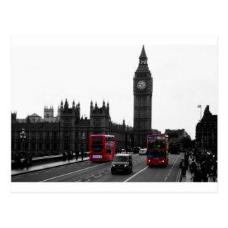 Carte Postale bus touristique rouge et Big Ben de Londres