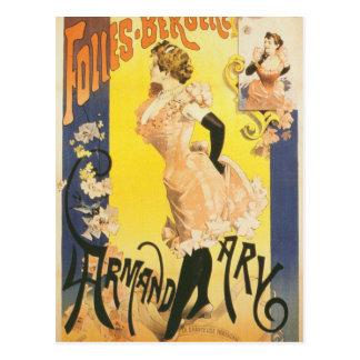 Carte Postale Cabaret français de Nouveau d'art de cancan de