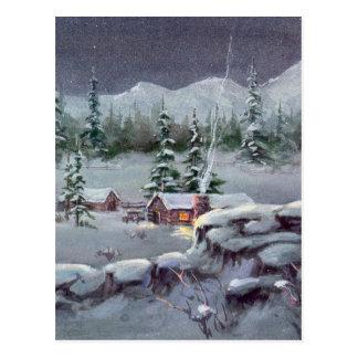 Carte Postale CABINE de RONDIN d'HIVER par SHARON SHARPE