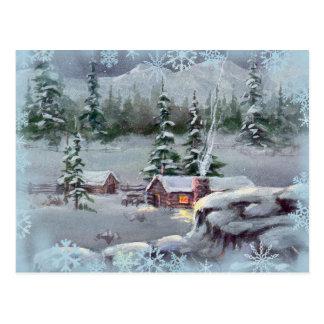 Carte Postale CABINE de RONDIN et SWNOWFLAKES par SHARON SHARPE