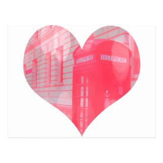 Carte Postale Cabine téléphonique rose rêveuse