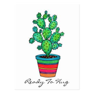 Carte Postale Cactus magnifique d'aquarelle dans le beau pot