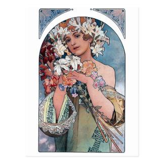 Carte Postale cadeau d'art déco de lillies de mucha