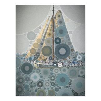 Carte Postale Cadeaux géométriques d'art de bateau à voile de